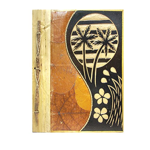 (Rockin Gear Photo Album Banana Leaf Wood Carved Handcrafted Eco Friendly Portrait Style Photo Album and Artist Scrapbook (Palm Trees, 12