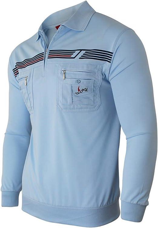 Soltice Men's Long Sleeve Checked Polo Shirt Striped Collar Polo Shirt Blouson Shirt Cotton Mix (M to 3XL)