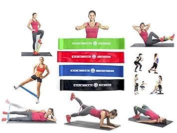 Bandas de resistencia elástico Fitness – Pack 4 Mini Loop – 4 niveles de resistencia diferentes