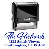 Blue Ink, Personalized Custom Self Inking Return Mail Address Stamp – Elegant Gift for Business, Real Estate Clients, Teachers and Family, Newlyweds or for Wedding Invitations