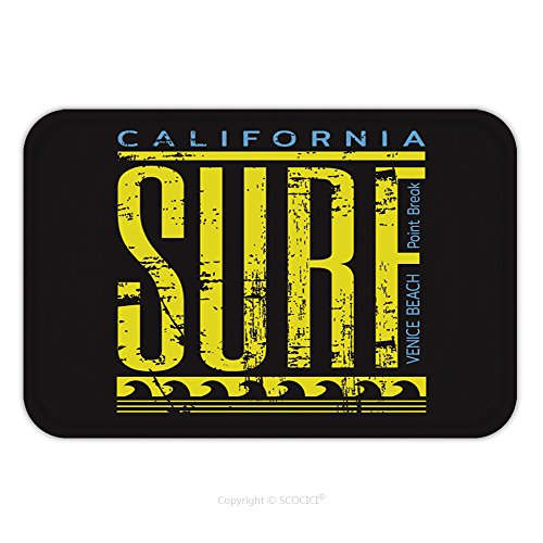 Aloha Surf Rug Carpet Mat (Flannel Microfiber Non-slip Rubber Backing Soft Absorbent Doormat Mat Rug Carpet Vector Illustration On The Theme Of Surfing And Surf In California Venice Beach Grunge Background 550951117 for Indoor/)