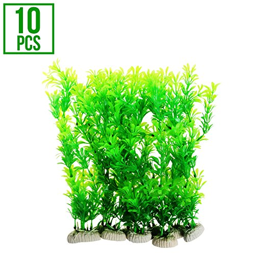 AQC Aquarium Decor | 10pcs Artificial Fish Tank Salt Fresh Water Plant Decoration Ornament | Vivid Color Aquatic Accessories Ceramic Base | Non-Toxic Fade-Resistant Easy Maintenance | Green | (Plant Aquarium Ornament Decoration)