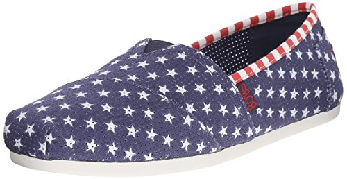 BOBS from Skechers Women's Plush Summer Sunset Flat, Navy Little Stars, 7 M US