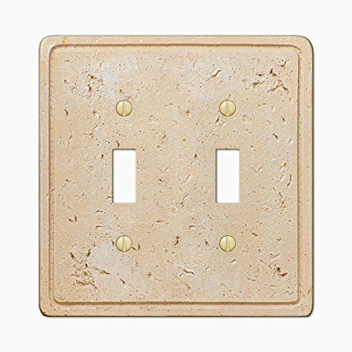 Travertine Switchplates - Faux Stone Double Toggle Switch Wall Plate Cover, Toasted Almond