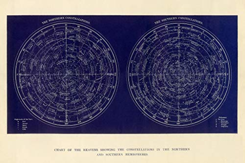 Chart of The Heavens Constellations Northern Southern Hemisphere Engraving 1892 Poster 36x24 Inch ()