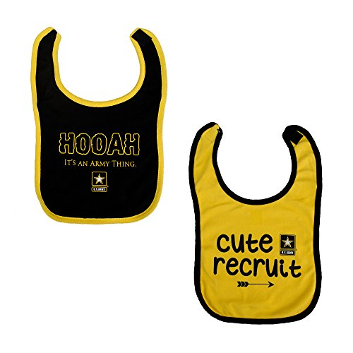 - Tiny Trooper 2 Pk Baby Bib Set U.S. Army Logo Yellow & Black
