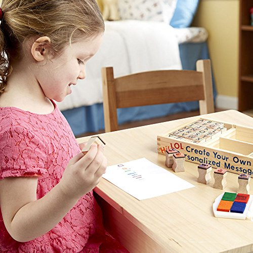 Melissa & Doug Wooden Alphabet Stamp Set - 56 Stamps With Lower-Case and Capital Letters