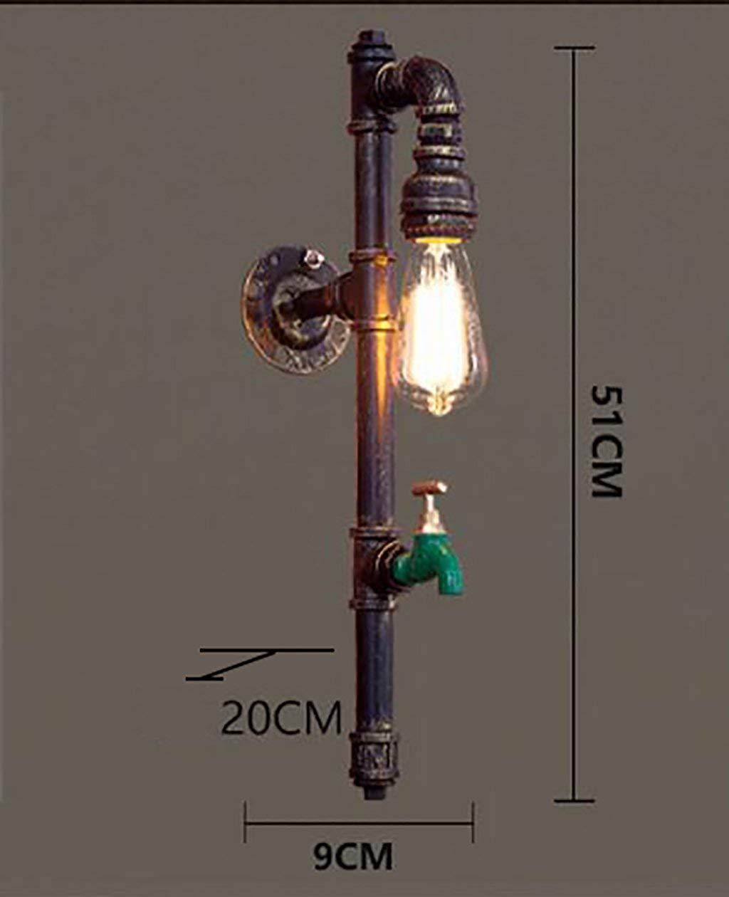 GZ Arredonnato per la casa Lampada da Parete Vintage Scala da Balcone Industriale Mono Lampade per Tubi di Acqua Lampade da Parete in Ferro Retro Bar Study