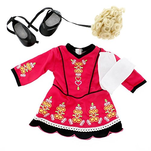 Includes Dance Dress /& Leggings - Clothes for American Girl /& 18 Dolls Blonde Hairpiece 4 Piece Set Gillies Irish Step Dancing Doll Outfit