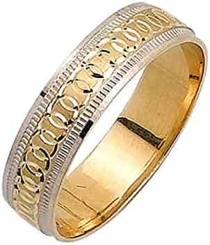 14K Two Tone Gold Infinity Pattern Men's Wedding Band (5mm)