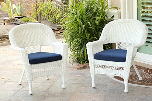 Jeco W00206-C_2-FS011-CS Wicker Chair with Blue Cushion, Set of 2, White/W00206-
