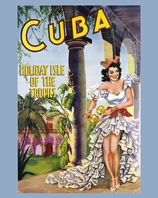 Cuba - Holiday Isle of the Tropics (1950). Vintage Travel Reproduction Poster (16 x 20)