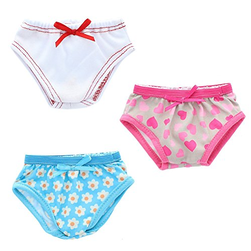 Pink Butterfly Closet Doll Underwear - Beautiful Set of 3 Underwear Panties Fits American Girl Dolls, My Life Doll and Other 18 inches Dolls