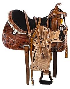 14 15 16 Western Saddle Barrel Racing Racer Pleasure Trail Show Horse Leather Bridle Breast Collar Tack Set