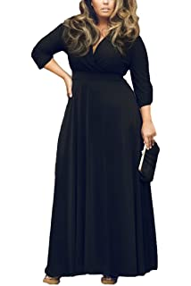 d186742e9b77 Pink Queen Women s Solid V-Neck 3 4 Sleeve Plus Size Evening Party Maxi