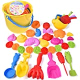 36 PCs Beach Sand Toys for Toddlers, Sandbox Toys Set with Beach Bucket, Watering Can, Sand Molds and Beach Shovel Tool Kit
