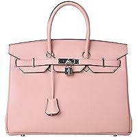 Cherish Kiss Women's Padlock Handbag Genuine Leather Top Handle Bag with Silver Hardware