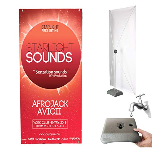 HUAZI X Banner Stand with Water Base - Vinyl Banner Stand Display Size 31.5 x 71 inches with Traveling Bag for Trade Show,Exhibition,Business,Malls