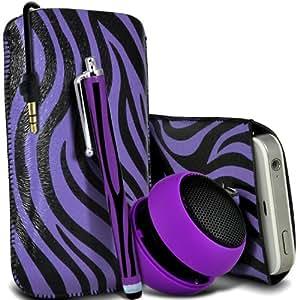 Nokia Lumia 520 Protección Premium de Zebra PU tracción Piel Tab Slip In Pouch Pocket Cordón piel cubierta de la caja de liberación rápida, grande Zebra Stylus Pen & Mini recargable portátil de 3,5 mm Cápsula Viajes Bass Speaker Jack púrpura y Negro por Spyrox