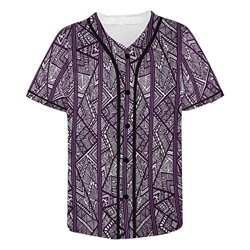 (INTERESTPRINT Men's Striped Pattern with Tribal Motifs Baseball Jersey T-Shirts Plain Button Down Sports Tee S)