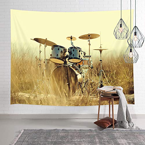 (NYMB Western Country Music Tapestry, Musical Instruments Grunge Drum in Field Tapestry Wall Hanging, Bedroom Living Room Collage Dorm Home Decor Blanket 71X60inches)