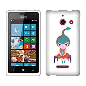 Fincibo (TM) Protector Cover Case Snap On Hard Plastic Front And Back For Huawei Ascend W1 H883G - Cute Scorpio Girl