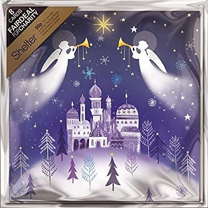 Pack of 8 Christmas Angels Shelter Fairdeal Charity Christmas Cards: Amazon.es: Oficina y papelería