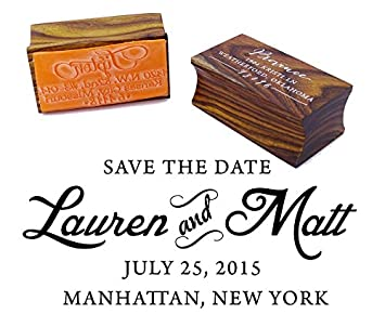 Custom Wood Mounted Wedding Rubber Stamp Personalized Save The Date Invitation Gift