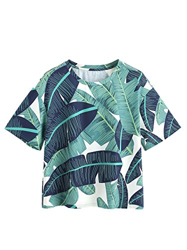Romwe Women's Foliage Print Drop Shoulder Crew Neck T-Shirt Tee Top Green L