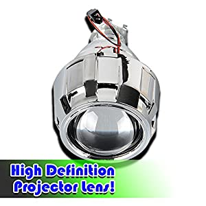 Zento Deals 2 Pieces of Mini H1 HID Bi-Xenon Projector Lens for H1 Bulb Model- Clear Bright High and Low Bim Light with Aluminum Housing for All Weather