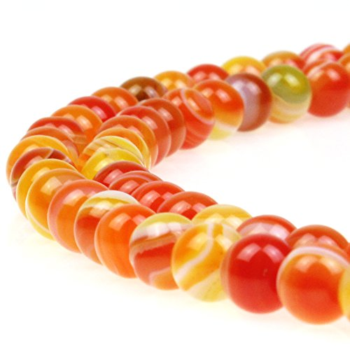 JARTC Natural Stone Beads Orange Stripe Agate Round Loose Beads for Jewelry Making DIY Bracelet Necklace (12mm)
