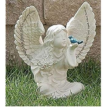 Roman Garden Angel Cherub Bird Statue When Angels Talk In Heaven