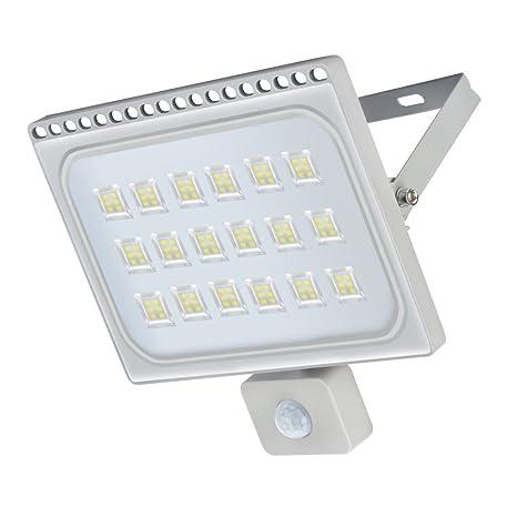 LED Lámpara Plana con Sensor de Movimiento(PIR), Foco IP66 Impermeable, Proyector