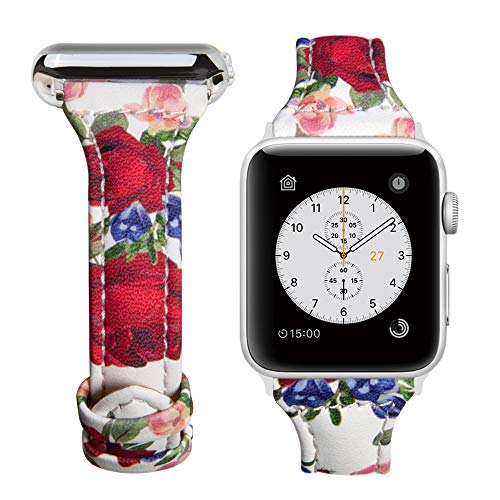 Genuine Leather Replacement Band - oceBeec Compatible Apple Watch Band 38mm 42mm, iWatch Band Slim Genuine Leather Wristband Replacement Strap iWatch Bands Series 3, Series 2, Series 1, Sport, Edition (Flower F 38mm)