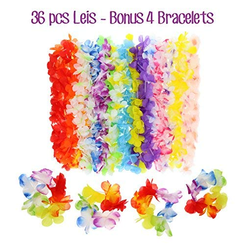 Hawaiian Leis Luau Party Decorations - Tropical Hawaii Silk Flower Necklace - Hula Luau Beach Pool Party Theme Accessories - for Birthday and Graduation Day Celebration (36 Pieces plus 4 Bracelets)
