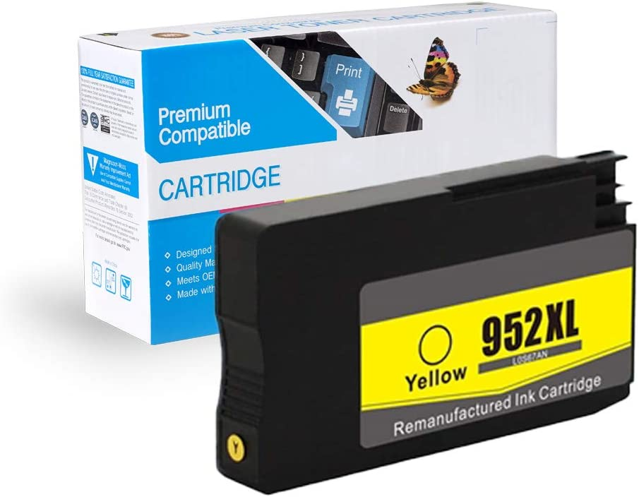Yellow, 4 Pack MS Imaging Supply Compatible Remanufactured Inkjet Cartridge Replacement for HP 952XL Yellow L0S67AN