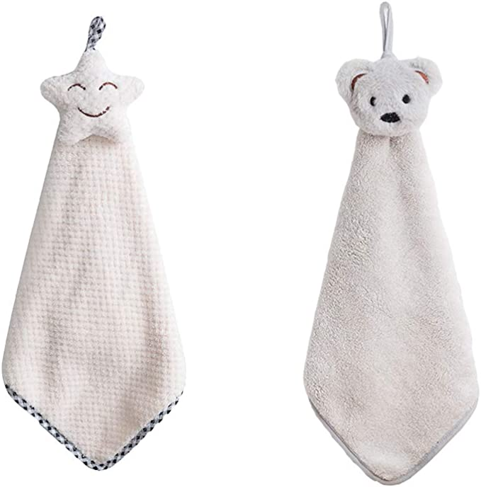 Home Kitchen Hanging Towel Cute Penguin Coral Fleece Strong Absorbent Quick Dry