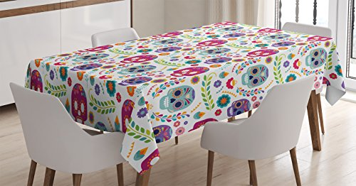 Ambesonne Mexican Tablecloth, Different Mexico Latin Día de Muertos Skull with Flower and Branchs Artwork, Rectangular Table Cover for Dining Room Kitchen Decor, 60