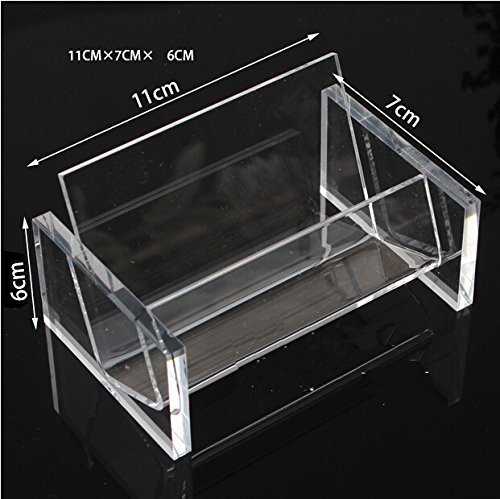 10 Pack Transparent Business Card Holder Office Desktop Display Stand