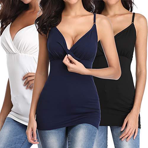 MissTalk Nursing Tank Tops Maternity Shirt Nursing Bras Cami for Breastfeeding(L)