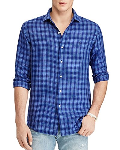 Ralph Lauren Polo Men's Glen Plaid Linen Long Sleeve Estate Shirt (Large, Navy) (Linen Shirt Plaid)