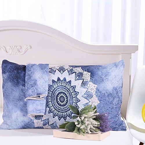 Sleepwish Vintage Floral Mandala Pillow Sham Standard Cobalt Blue Pillow Cover Bohemian Flower Pillows Decorative 20x36 inches (1 Case)