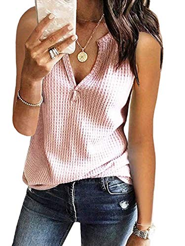 (Famulily Women's Casual Tops Sleeveless Cute Vneck Waffle Knit Shirts Tank Tops Pink XXL)
