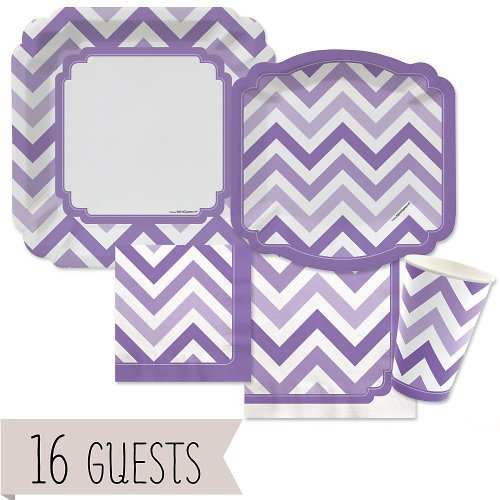 Big Dot of Happiness Chevron Purple - Party Tableware Plates, Cups, Napkins - Bundle for 16 by Big Dot of Happiness