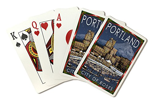 Portland, Oregon - Skyline at Night - Christmas Version (Playing Card Deck - 52 Card Poker Size with Jokers) ()