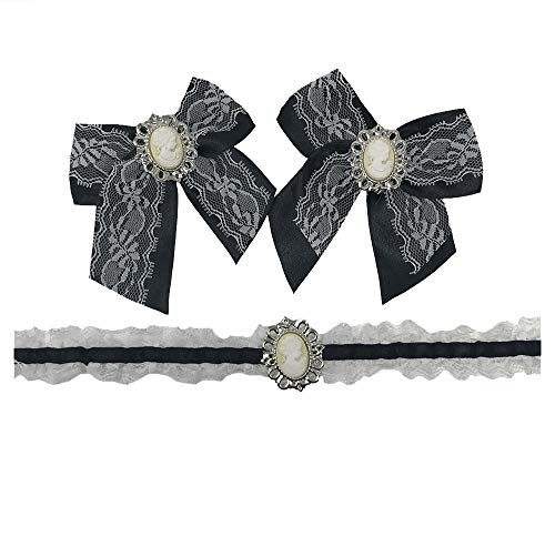 French Velvet Costume Maid - Velvet Kitten 3 Piece Maid Accessory Costume Kit in Black/White - One Size