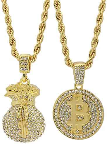 7263f2c010c L & L Nation Men's 14k Gold Plated High Fashion $ Money Bag & Bit Coin Hip  Hop 4mm 24