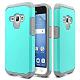 J1 2016 Case, Galaxy Amp 2 Case, Galaxy Express 3 Case, NageBee - Design Heavy Duty Defender Dual Layer Protector Hybrid Case for Samsung Galaxy J1 2016 / Amp 2 / Express 3 (Hybrid Teal)