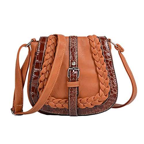 Stitching Leather Crocodile Shoulder Lines Bag Size PU One Buckle Light Messenger Crossbody Bag Women's Brown Beige wEBTUqE
