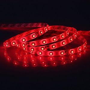 XKTTSUEERCRR Waterproof Red LED 3528 SMD 300LED 5M Flexible Light Strip 12V 2A 24W 60LED/M